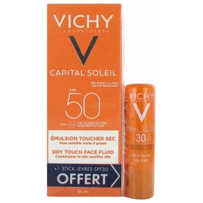 Vichy Capital Soleil Émulsion Toucher Sec SPF50 - 50 ml + Stick Lèvres SPF30 4,7 ml Offert